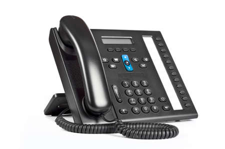 Black office IP Phone isolated on white background photo