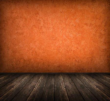 dark vintage orange room with wooden floor