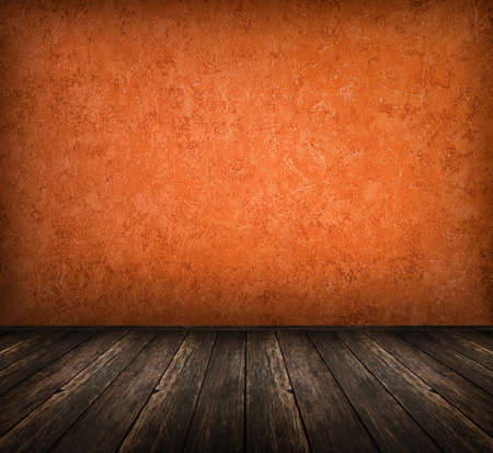 dark vintage orange room with wooden floor photo