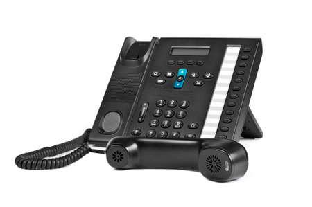 Black office IP Phone isolated on white background Standard-Bild