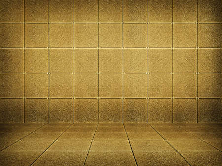 indoor background: golden mosaic room, gold background
