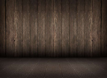 old grunge room with wooden wall and tiled floor, vintage background photo