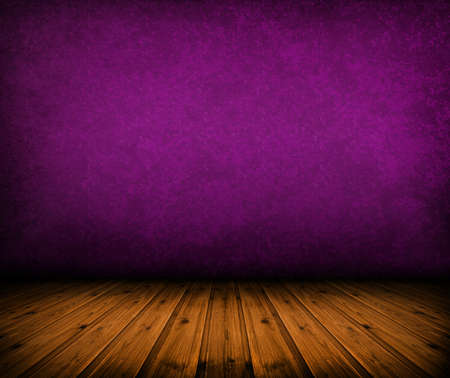 dark vintage purple room with wooden floor and artistic shadows added