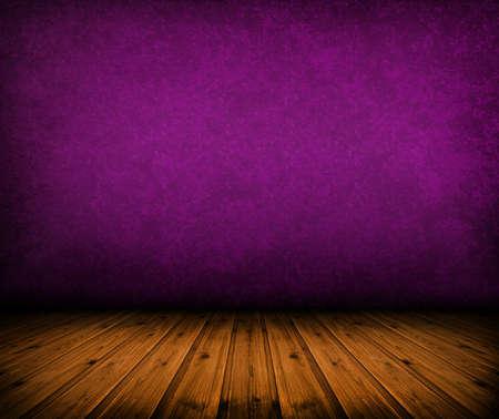 porpora: stanza buia annata viola con pavimento in legno e le ombre artistiche aggiunto