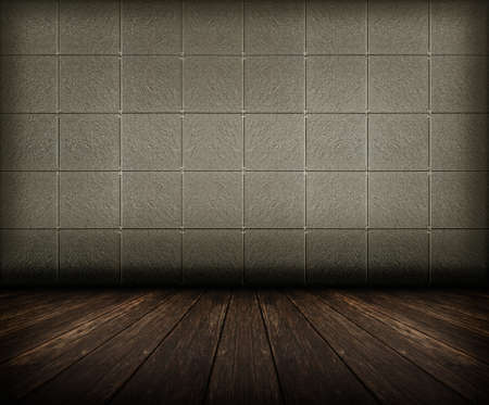 old grunge room with tiled wall and wooden floor, vintage background photo