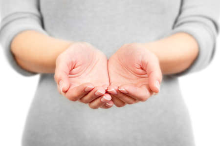 mains ouvertes: Les mains ouvertes de la femme. Vos objets ici