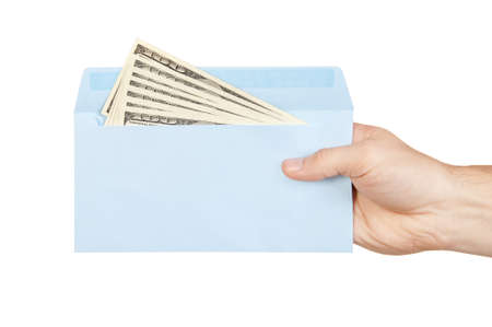 Hand and money in blue envelope isolated on white background Stock Photo - 11009804