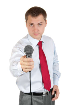 Journalist with microphone isolated on white background Standard-Bild