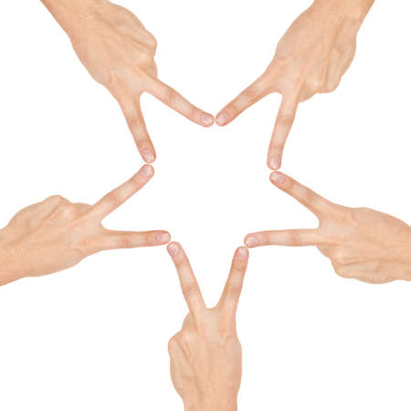 combined effort: star made of human hands isolated on white background