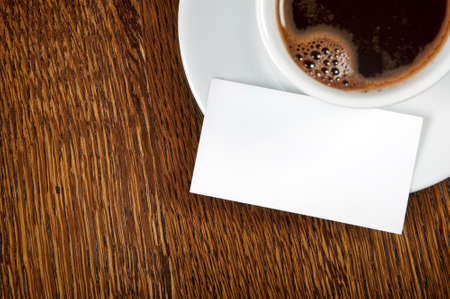 Blank card with coffee cup with space for your data photo