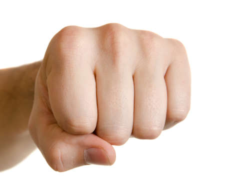 grip: Man fist isolated on white background