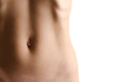 undressed: Perfect waistline of a beautiful young woman isolated on white background Stock Photo