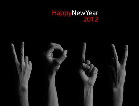 The number 2012 shown by fingers in creative New Year greeting card Stock Photo