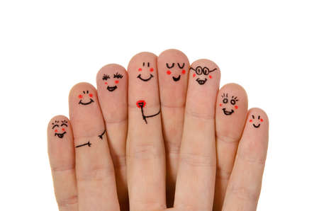 Happy group of finger smileys isolated on white background