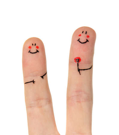 Happy finger on white background photo