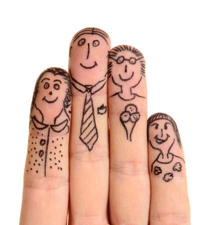 familia abrazo: Familia dedos aislados sobre fondo blanco
