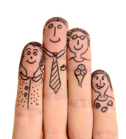abstract portrait: Fingers Family isolated on white background