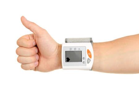 hipertension: Thumbs Up para la tensión arterial saludable aislados sobre fondo blanco Foto de archivo