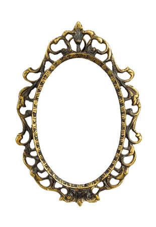 elipse: Ornamentado, muy viejo, oro plateado marco de imagen vac�o para poner sus fotos in Aislado sobre fondo blanco.