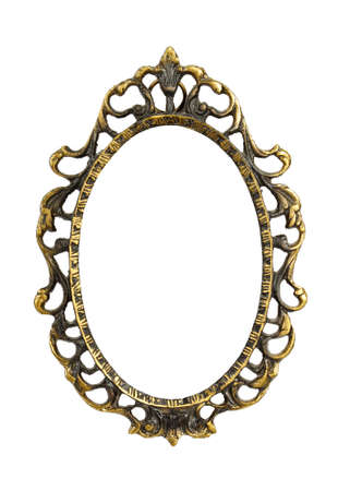 antique gold picture frames: Ornamented, very old, gold plated empty picture frame for putting your pictures in. Isolated on white background. Stock Photo