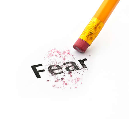 clinical psychology: Fear concept with word eraser and pencil on white background