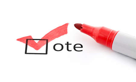Red checkmark on vote checkbox. Concept for voter registration and participation in elections, or for voting redrepublican;