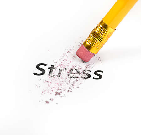 eraser: Stress at business office concept with pencil and eraser