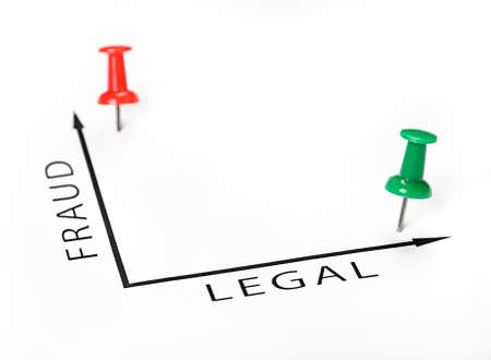 Legal chart with green and red pin on white background photo