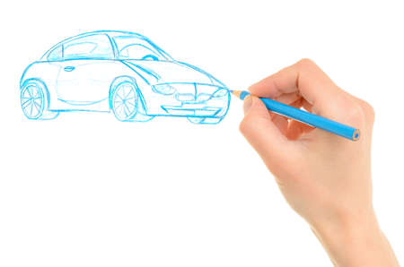 Hand drawing car isolated on white background Stock Photo - 12704533