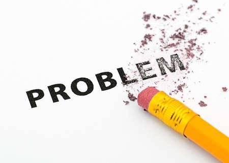 rectify: Cancellazione di problema con un concetto di gomma da cancellare. Archivio Fotografico