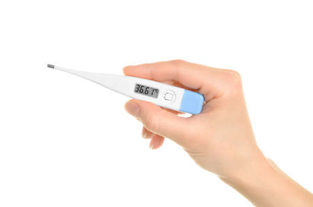 Electronic thermometer in hand isolated on white background