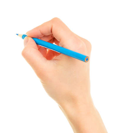hand with pencil: Blue pencil in hand isolated on white background  Stock Photo