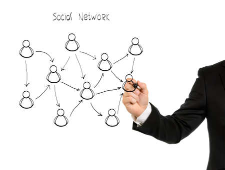 Businessman hand drawing a social network scheme on a whiteboard  Stock Photo - 13023715