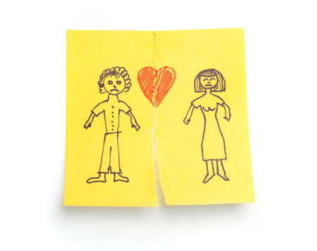 relationship problem: Concept sketched Divorce on sticky note paper