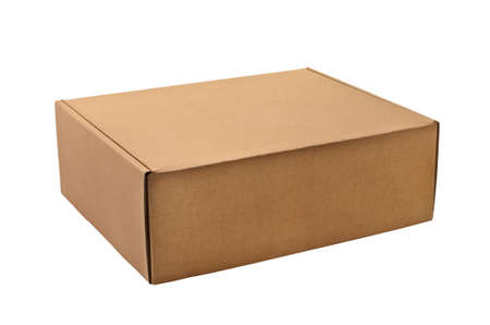 a cardboard box isolated on a white background  photo