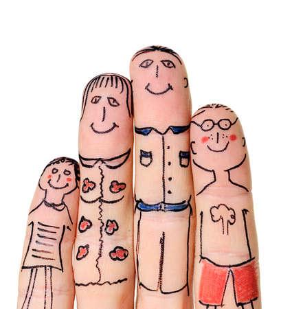 jeune vieux: Famille doigts isol� sur fond blanc