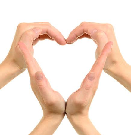 manos logo: Coraz�n hecho de manos que se entrelazan conceptual aislado en blanco
