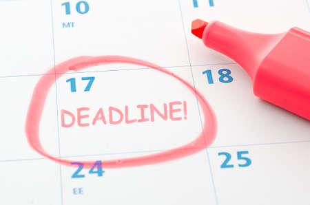 Calendar mark with Deadline  photo