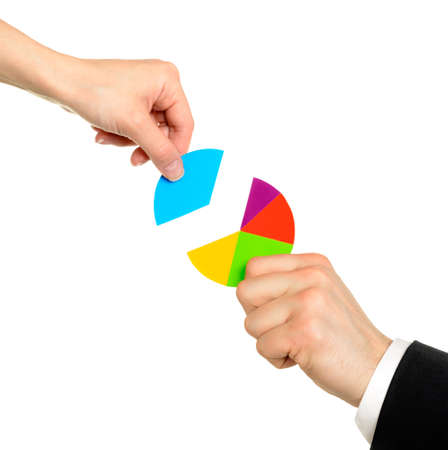 Female hand putting the last piece of a pie chart on place (partnership, teamwork, investment and other financial concepts) isolated on white background