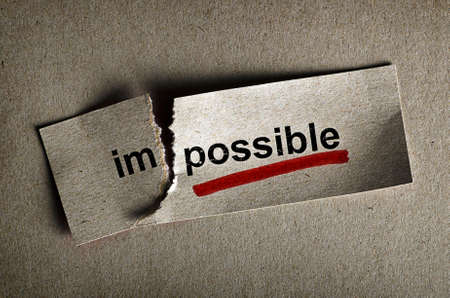 philosophy: Word impossible transformed into possible. Motivation philosophy concept