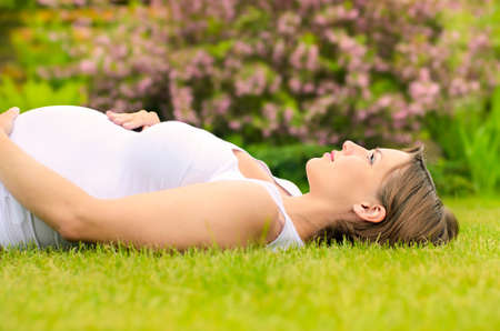 Beautiful pregnant woman relaxing on grass  Stock Photo - 13922095