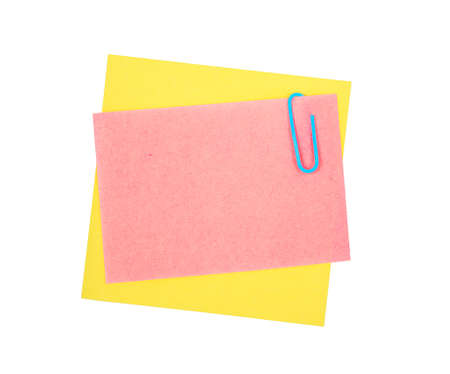 Note paper and clip isolated on white background Stock Photo - 13944938