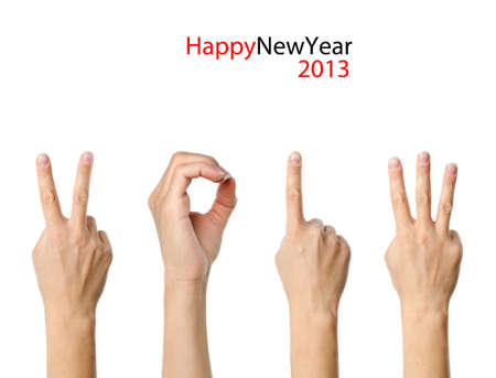 The number 2013 shown by fingers in creative New Year greeting card Stock Photo - 15842103