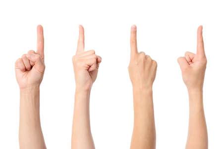 Mano dedo apuntando aislado sobre fondo blanco.