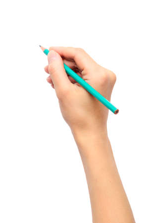 Womans hand holding a pencil on a white background  photo