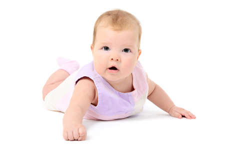 Beutiful infant baby girl on white background Stock Photo - 16826602