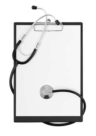 Blank clipboard with modern stethoscope, space for messages isolated on white background  Stock Photo - 16953096