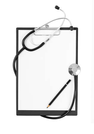 Black medical Clipboard with a Stethoscope isolated on white background photo