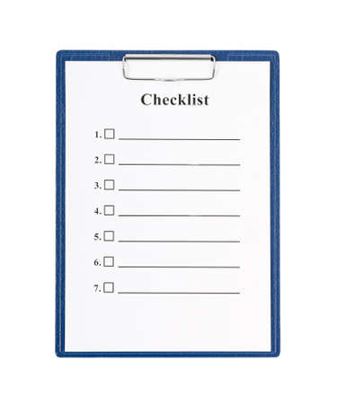 Checklist and Clipboard isolated on white background  Stock Photo