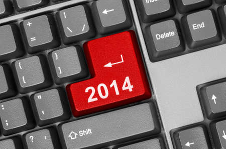 Computer keyboard with 2014 key - holiday concept Stock Photo - 23294095
